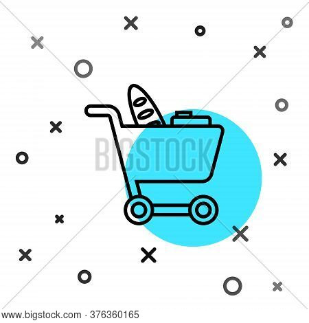 Black Line Shopping Cart And Food Icon Isolated On White Background. Food Store, Supermarket. Random