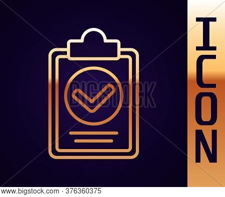 Gold Line Verification Of Delivery List Clipboard Icon Isolated On Black Background. Vector Illustra