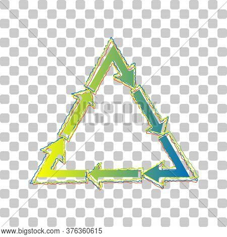 Plastic Recycling Symbol Pvc 3 , Plastic Recycling Code Pvc 3. Blue To Green Gradient Icon With Four