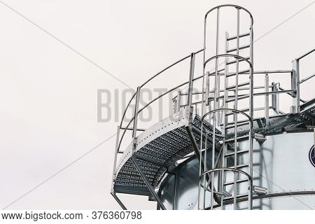 Industrial Metal Ladder With Round Protection, Railing. Safety Rules, Agricultural Industry Objects
