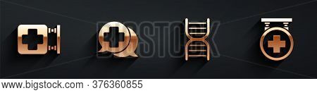 Set Hospital Signboard, Dialogue With The Doctor, Dna Symbol And Hospital Signboard Icon With Long S