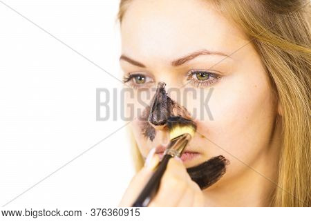 Girl Being Apply Carbo Mask To Skin Face