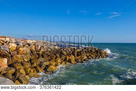 Marina Di Pisa, Italy - August 14, 2019: Sea Coastline In Marina Di Pisa, A Seaside Resort Of Tuscan