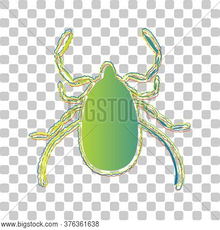 Dust Mite Sign Illustration. Blue To Green Gradient Icon With Four Roughen Contours On Stylish Trans