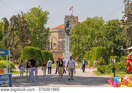 Belgrade, Serbia - June 30, 2019: Kalemegdan Park At Sunny Summer Day In Belgrade, Serbia.