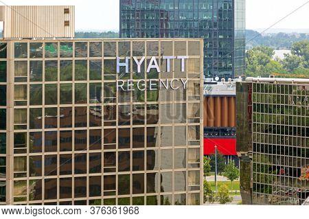 Belgrade, Serbia - June 23, 2019: American Hyatt Regency Hotel Sign In Belgrade, Serbia.
