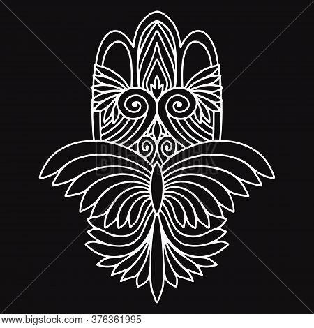 Hamsa Hand Drawn Bohemian Symbol With Eye. Decorative Religious Element In Oriental Style. Fatima Ve