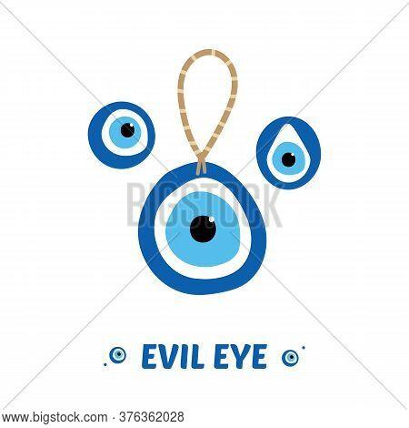 Set, Collection Of Nazar Amulets, Evil Eye Protection Talismans. Turkish Blue Eye-shaped Amulets.