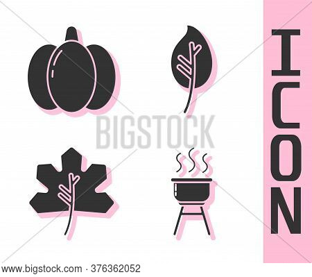 Set Barbecue Grill, Pumpkin, Leaf Or Leaves And Leaf Or Leaves Icon. Vector