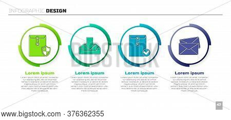 Set Envelope With Shield, Download Inbox, Envelope And Check Mark And Envelope. Business Infographic