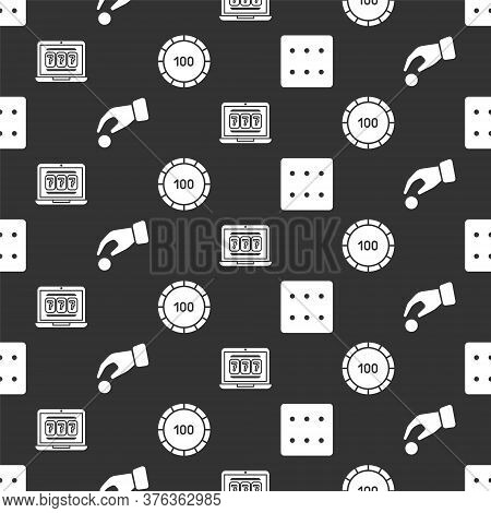 Set Game Dice, Hand Holding Casino Chips, Laptop And Slot Machine And Casino Chips On Seamless Patte