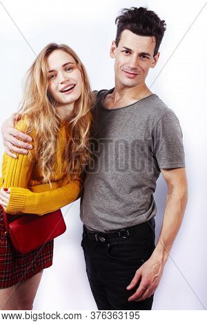 Young Attractive Couple Together Having Fun Happy Smiling Isolated On White Background, Emotional Po