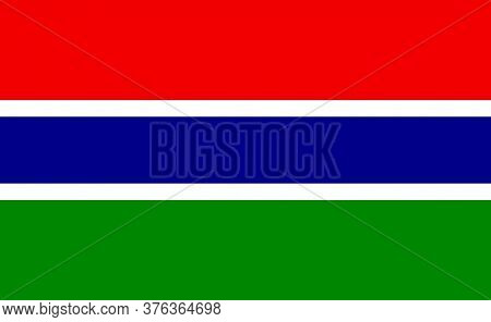 Gambia National Flag In Exact Proportions - Vector