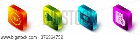 Set Isometric 3d Word, Megaphone, Screen Tv With 4k And Cd Or Dvd Disk Icon. Vector