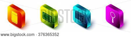 Set Isometric Eraser Or Rubber, Graphic Tablet, Web Design And Development And Magnifying Glass Icon