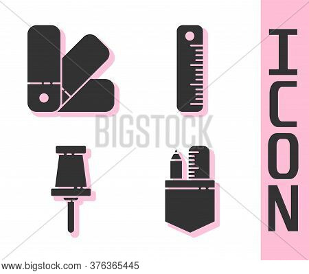 Set Crossed Ruler And Pencil, Color Palette Guide, Push Pin And Ruler Icon. Vector
