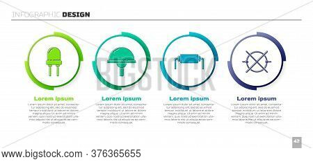 Set Light Emitting Diode, Light Emitting Diode, Resistor Electricity And Electric Circuit Scheme. Bu