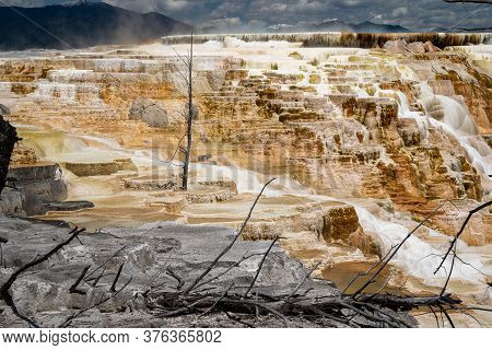 Hot Springs Terraces Overlooking Mammoth Hot Springs At Canary Springs In Yellowstone National Park