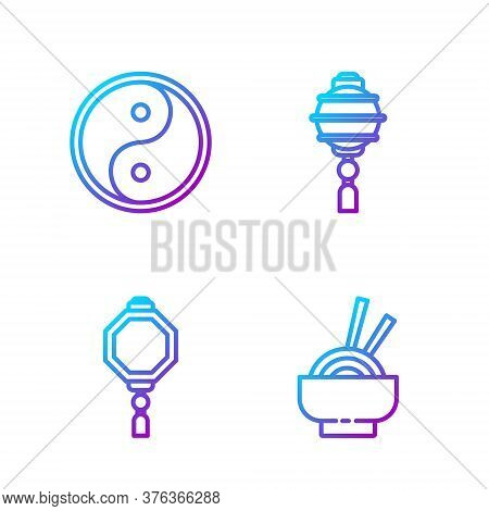Set Line Asian Noodles In Bowl, Chinese Paper Lantern, Yin Yang And Chinese Paper Lantern. Gradient