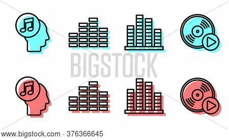 Set Line Music Equalizer, Musical Note In Human Head, Music Equalizer And Vinyl Disk Icon. Vector