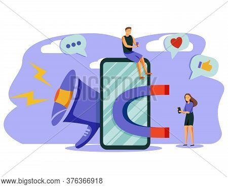 Attracting Online Customers Vector Illustration.big Magnet And People With Laptop Around. Customer R