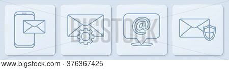 Set Line Mobile And Envelope, Mail And E-mail On Speech Bubble, Envelope Setting And Envelope With S