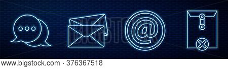 Set Line Mail And E-mail, Speech Bubble Chat, Envelope, Delete Envelope And Mail And E-mail. Glowing