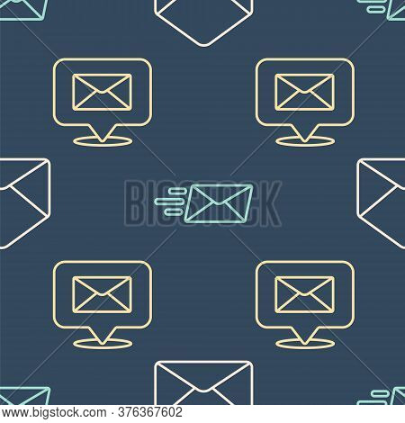 Set Line Envelope, Speech Bubble With Envelope And Express Envelope On Seamless Pattern. Vector