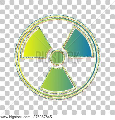 Radiation Sign. Blue To Green Gradient Icon With Four Roughen Contours On Stylish Transparent Backgr