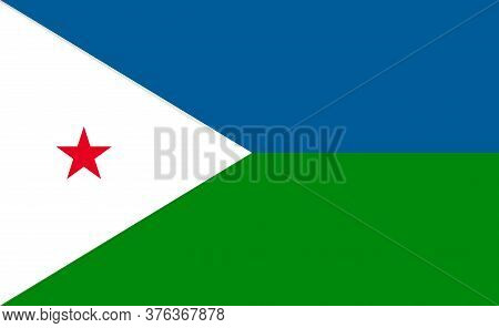 Djibouti National Flag In Exact Proportions - Vector