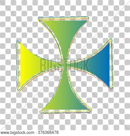 Maltese Cross Sign. Blue To Green Gradient Icon With Four Roughen Contours On Stylish Transparent Ba