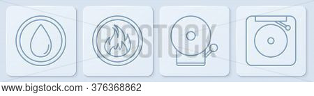 Set Line Water Drop, Ringing Alarm Bell, Fire Flame And Ringing Alarm Bell. White Square Button. Vec