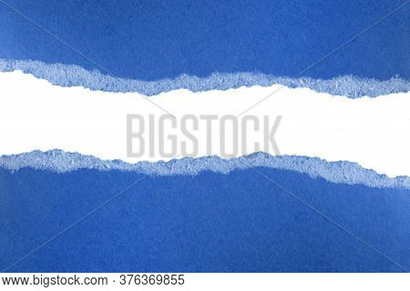 Ripped Pieces Of Blue Paper Isolated On White Background. Paper Piece Torn Edge. Rip Sheet Paper Tea