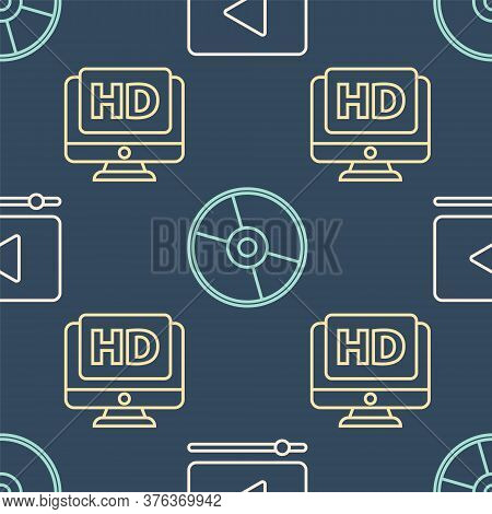 Set Line Online Play Video, Monitor With Hd Video And Cd Or Dvd Disk On Seamless Pattern. Vector