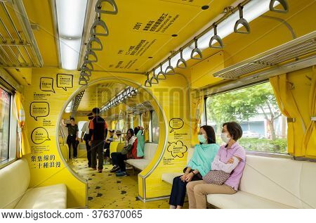 Nantou, Jiji, Taiwan - October 7th, 2019: interior of Taiwan first mobile museum, National Jiji Museum, with yellow bright color