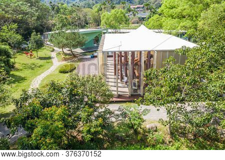 Puli, Taiwan - October 6th, 2019: aerial view of Paper Dome at Taomi village, Nantou county, Taiwan, Asia
