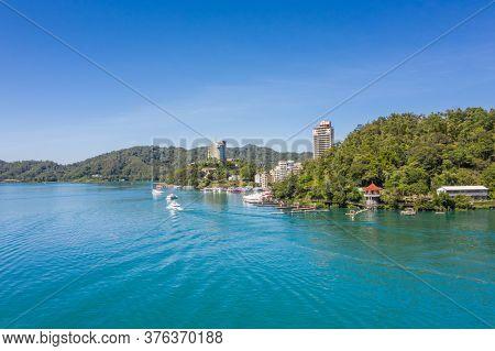 Nantou, Taiwan - October 2th, 2019: landscape of Shuishe Pier at Sun Moon Lake, Taiwan, Asia