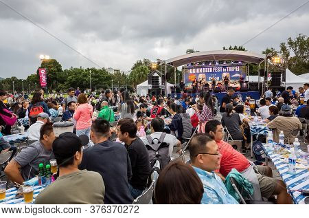 Taipei, Taiwan - October 19th, 2019: Okinawa Orion Beer Fest with drink and people at Taipei, Taiwan
