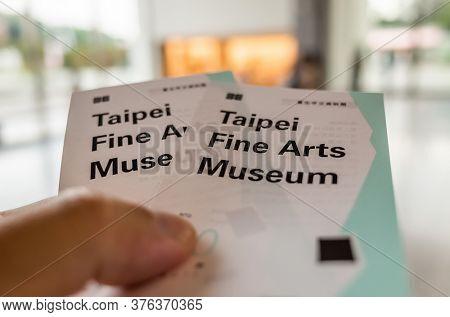 Taipei, Taiwan - October 19th, 2019: tickets of Taipei Fine Art Museum, Taipei, Taiwan