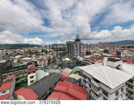 Puli, Taiwan - September 7th, 2019: aerial view of Puli town cityscape at Nantou, Taiwan, Asia