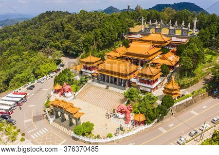 Nantou, Taiwan - September 11th, 2019: aerial view of famous landmark of Wenwu temple in Sun Moon Lake, Nantou, Taiwan