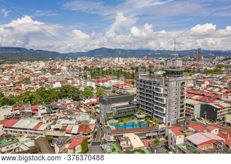 Nantou, Taiwan - September 5th, 2019: aerial view of Puli town with buildings in the daytime, Nantou, Taiwan