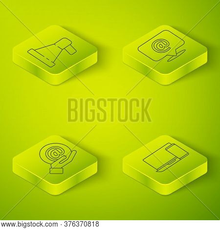 Set Isometric Mail And E-mail, Mail And E-mail In Hand, Monitor And Phone And Megaphone Icon. Vector