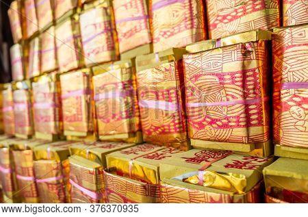 Nantou, Taiwan - September 27th, 2019: chinese joss gold papers at Zi Nan Temple, Nantou, Taiwan, Asia