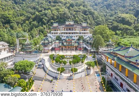 Nantou, Taiwan - September 15th, 2019: aerial view of famous landmark of BaoHu Dimu Temple at Puli, Nantou, Taiwan, Asia