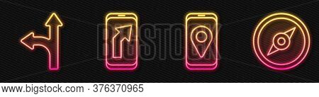 Set Line City Map Navigation, Road Traffic Sign, City Map Navigation And Compass. Glowing Neon Icon.