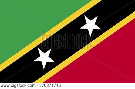 Saint Kitts And Nevis National Flag In Exact Proportions - Vector