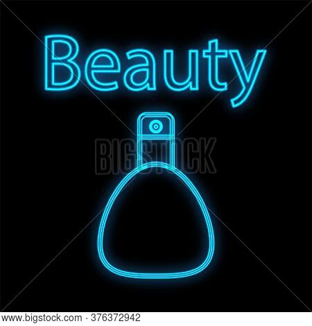 Cute Blue Neon Perfume On A Black Saturated Background. Perfume For Men And Women To Create Aroma An