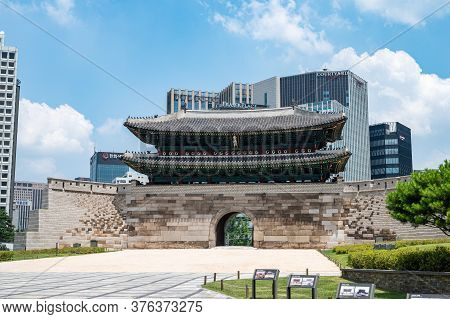 Seoul, South Korea, July 2020: The Official Name Of Namdaemun Gate In Seoul Is Sungnyemun, And It Is