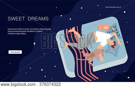Landing Web Page Template With Young Man Character Is Lying On Back Between Pets And Sound Asleep. G